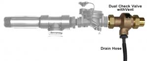Basepump ejector highlighting ther EZ-V/Pro-V backflow preventer