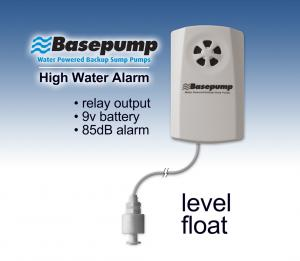 Basepump high water level alarm