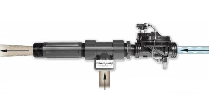 Basepump Ejector on white background showing water flow direction.
