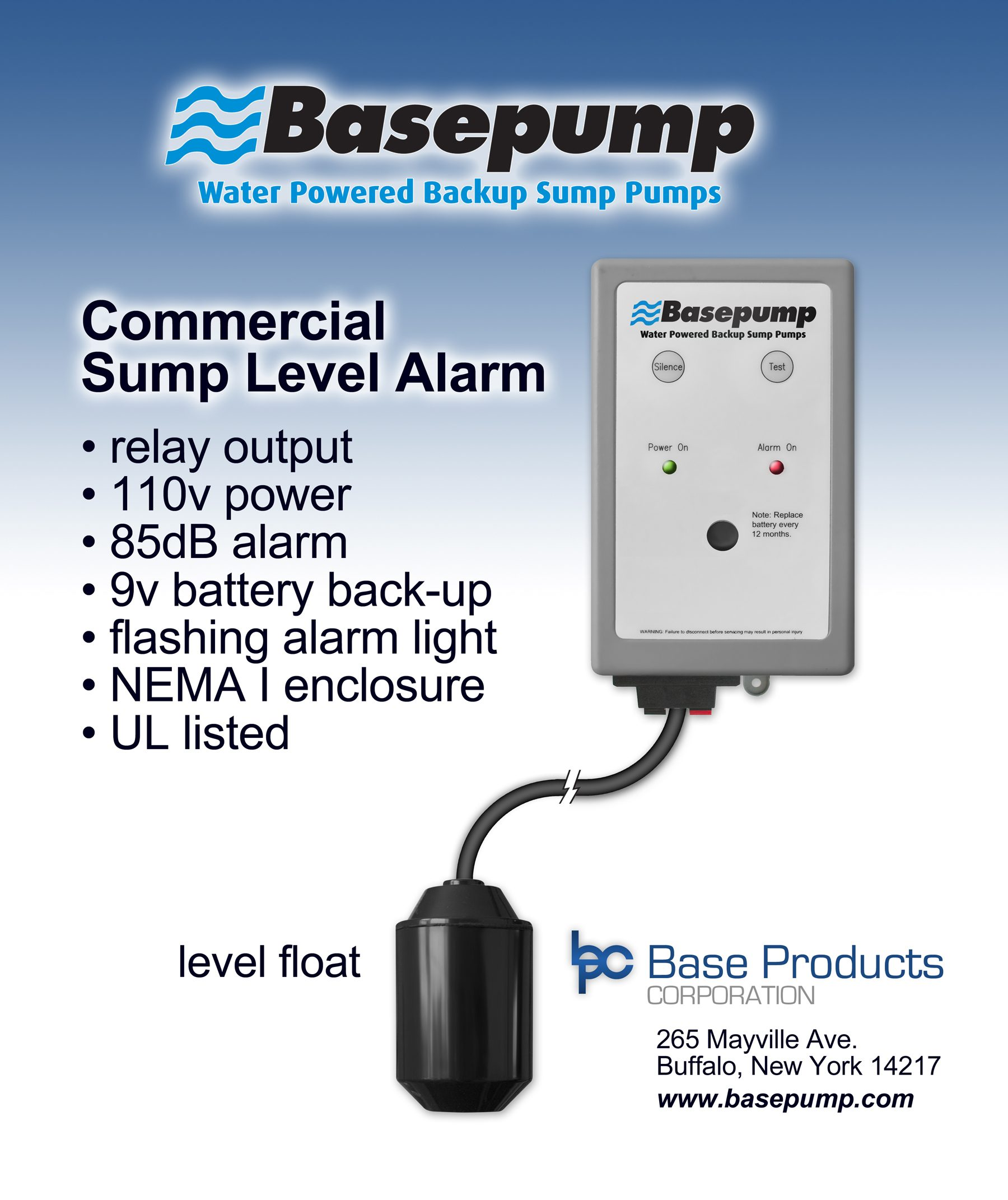 Basepump Commercial High Water Sump Level Alarm (SLA)